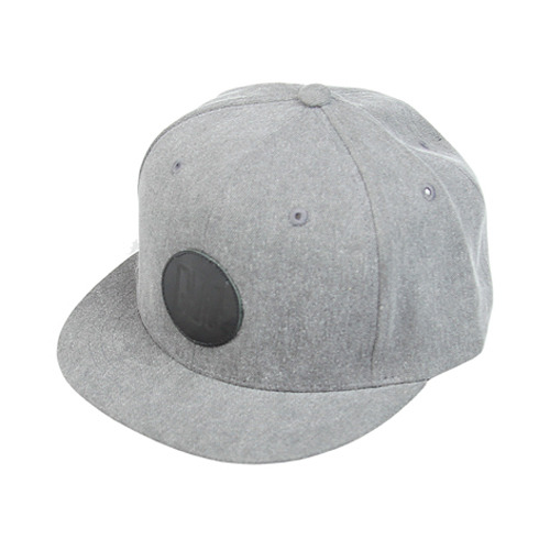 Leather patch grey short snapback